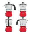 set color geyser coffee makers vector image vector image