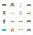 set of decoration realistic symbols with furniture vector image vector image