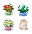 set of flowering plants in cups isolated on white vector image