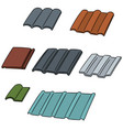 set of roof tile vector image vector image