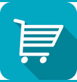 shopping cart icon with long shadows vector image vector image