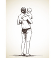 sketch woman holding a child in her arms hand vector image