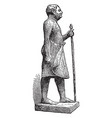 statue of man made by wood vintage engraving vector image vector image