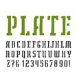 Stencil plate slab serif font vector image vector image