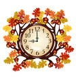 vintage wall clock with ornate frame of tree vector image vector image