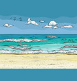 waves splashed on the sandy beach vector image
