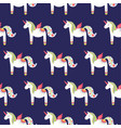 white cute unicorn seamless pattern doodle vector image