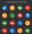 wind instruments 16 flat icons vector image