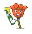 with beer poppy flower mascot cartoon vector image