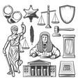 vintage judicial system elements set vector image