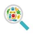 Image of magnifier and cute funny bacterias germs vector image