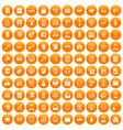 100 business training icons set orange vector image vector image