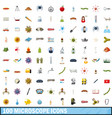 100 microscope icons set cartoon style vector image