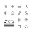 13 cash icons vector image vector image