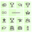 14 ceremony icons vector image vector image