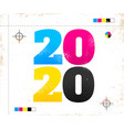 2020 in cmyk style vector image vector image
