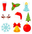 9 colorful cartoon christmas elements set vector image vector image
