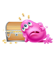 a pink beanie monster beside wooden treasure vector image vector image
