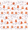 animal seamless pattern with cartoon cute owls vector image vector image