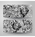 banner templates doodles coffee theme vector image vector image