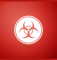 biohazard symbol icon isolated on red background vector image vector image