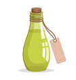bottle with cork and tag vector image
