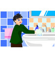 boy washing hands with soap vector image