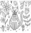 butterfly sitting on cat nose funny coloring page vector image