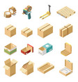 cardboard boxes isometric set vector image