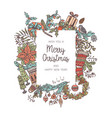 christmas background made with different elements vector image