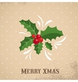 Christmas background with holly leafs vector image vector image