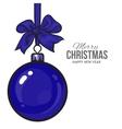 Christmas balls with blue ribbon and bows vector image vector image
