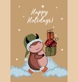 christmas kraft paper card hand drawn style vector image vector image