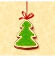 Christmas tree chocolate honey-cake greetings card vector image