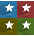 Color set star Flat modern web button with long vector image vector image