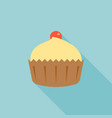 cupcake and cherry with long shadow vector image