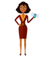 cute young african american woman with mobile vector image