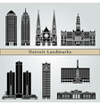 detroit landmarks and monuments vector image vector image