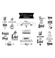 Doodle set of lettering about love vector image vector image