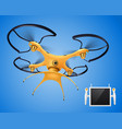 drone with remote control realistic composition vector image