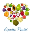 Exotic fruits icons in shape of heart vector image vector image