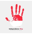 Handprint with the Flag of Singapore in grunge vector image