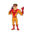 handsome superhero talking vector image vector image