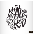 Handwritten calligraphic watercolor alphabet vector image vector image