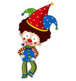 happy clown with colorful hat vector image vector image