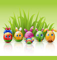 happy easter eggs cartoon character with bunnies e vector image vector image