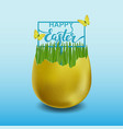 happy easter with golden egg green grass and vector image