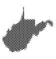hexagon halftone west virginia state map vector image