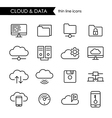 Internet cloud and data thin line icon set vector image vector image