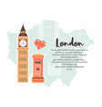 london background design with big ben post box vector image vector image